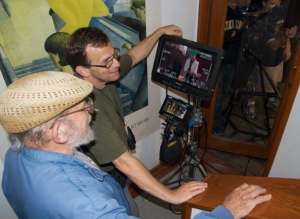 Rabbi Baruch Cohon with his son Jonathan Cohon on a film location.